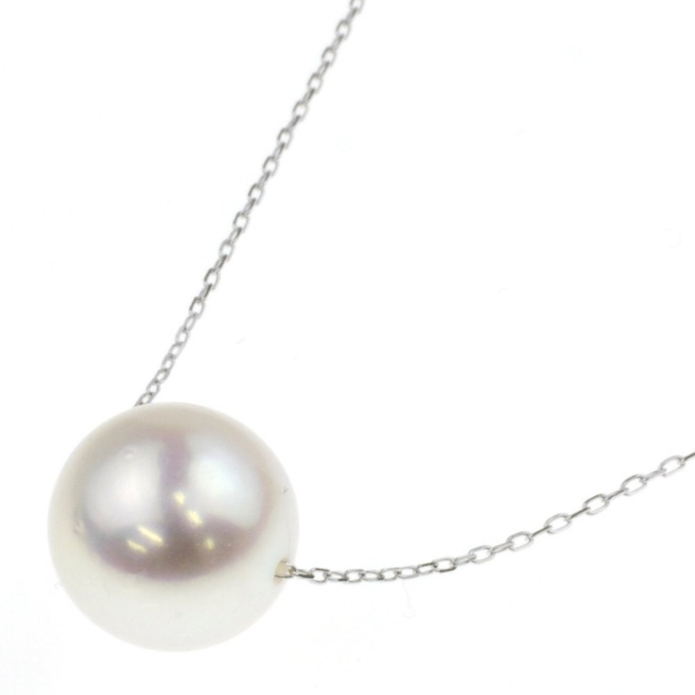White Pearl Pendant Necklace: Akoya Cultured Pearl Pendant Necklace 18K White Gold 8.5-9