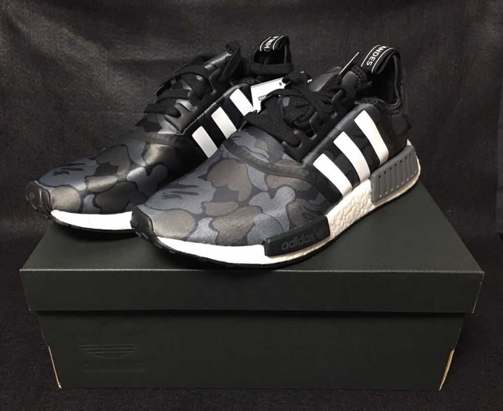 promo code 4221e 27f3c Details about New adidas x BAPE NMD R1 Black Army Camo US7.5 Bathing Ape  Shoes Free Shipping