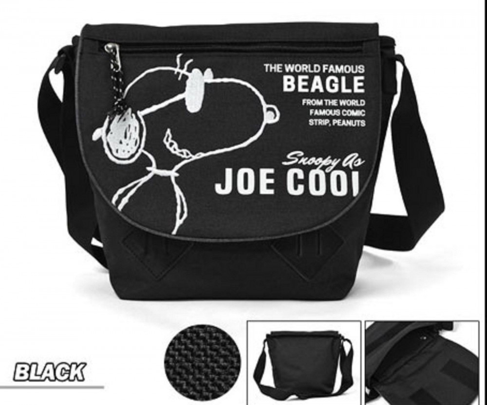 Peanuts Snoopy Nylon Messenger Bag Shoulder Gray Velcro Japan New with Tracking