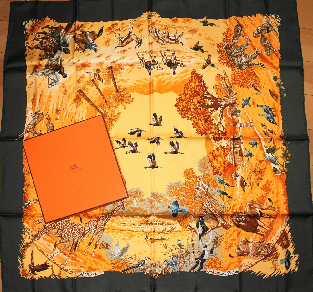"""04ebb7d00cf Details about Vintage Authentic Hermes Silk Scarf """"AFRICA"""" by Robert Dallet  NEW Brown Green"""