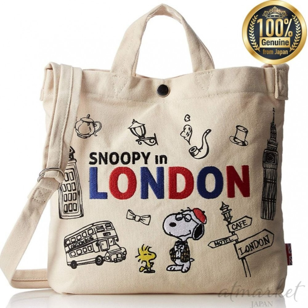 Details about NEW Snoopy canvas shoulder tote Bag M spr 269b London (366) genuine from JAPAN
