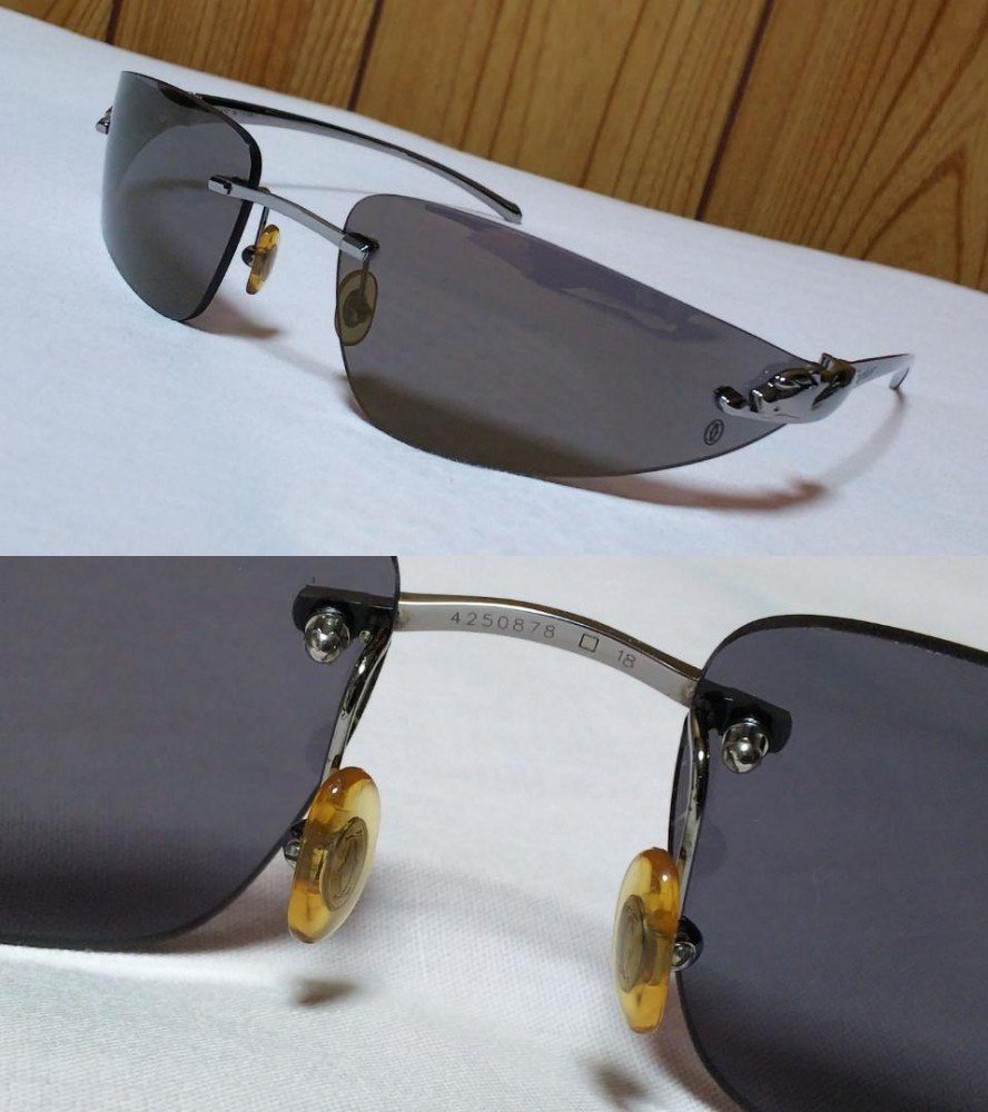 49ec01670c5f Details about Auth CARTIER SUNGLASSES Panthere Rimless Black Silver Metal  Frame Temple