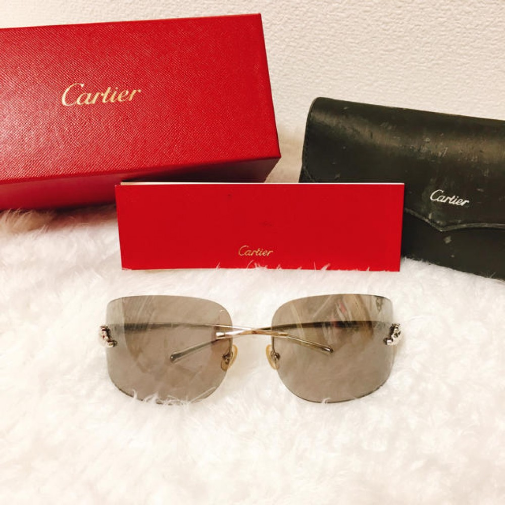 876d2d654f434 Details about Authentic CARTIER SUNGLASSES Panthere Grey Silver with  Leopard Print Temple