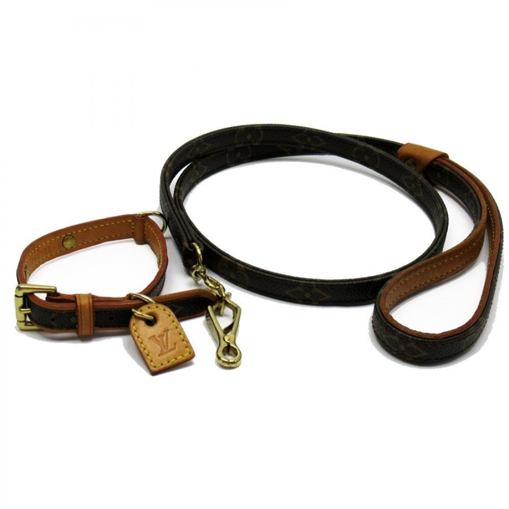 3d4e7a82 Details about Auth LOUIS VUITTON Dog Collar & Lead Leash Collier Baxter PM  Monogram