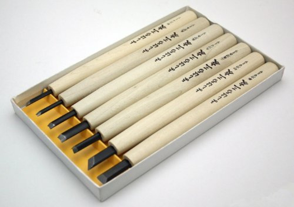 Yoshiharu Cutlery Wood Carving Chisels paper box 7pieces Y-7 Made In Japan F//S